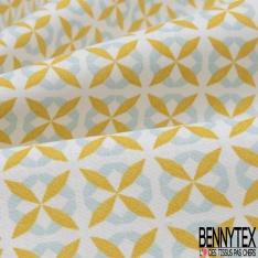 Coton imprimé motif losange moutarde et bleu ciel Fond blanc cassé