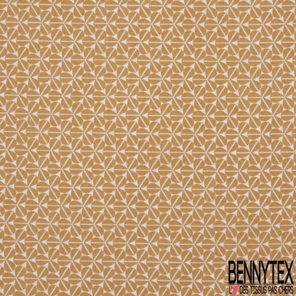 Coton imprimé motif trèfle à 3 feuilles camel Fond blanc