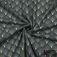 Coton Crétonne imprimé Motif Eventail Fantaisie Multicolores Fond bleu nuit