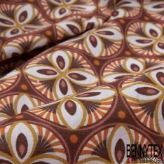 Coton imprimé motif rosace multicolore et point orange Fond pourpre