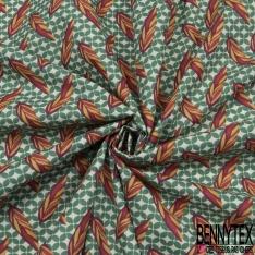 Coton imprimé motif feuille indienne multicolore et trèfle à 4 feuilles vert Fond blanc cassé
