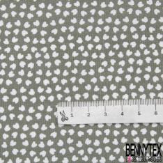 Coton imprimé motif tache en forme de dent Fond gris tillent