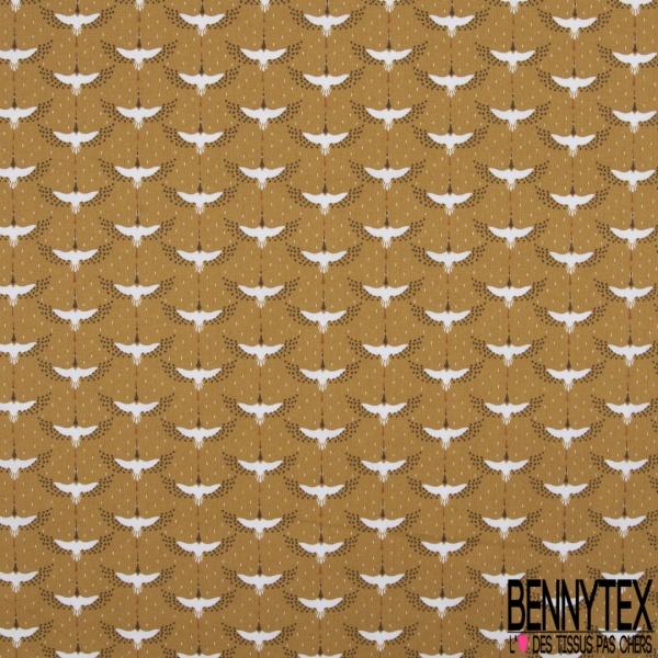 Coton imprimé motif cigogne Fond vénitien
