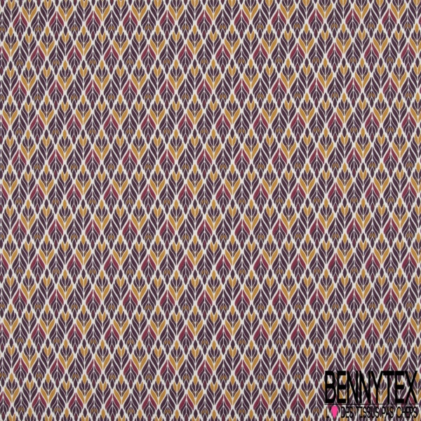 Coton imprimé motif épis couleur prune et cannelle Fond blanc