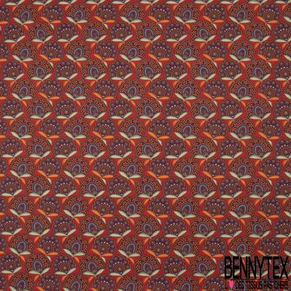 Cretonne 100 % Coton Imprimé motif fleur assam multicolore Fond brique