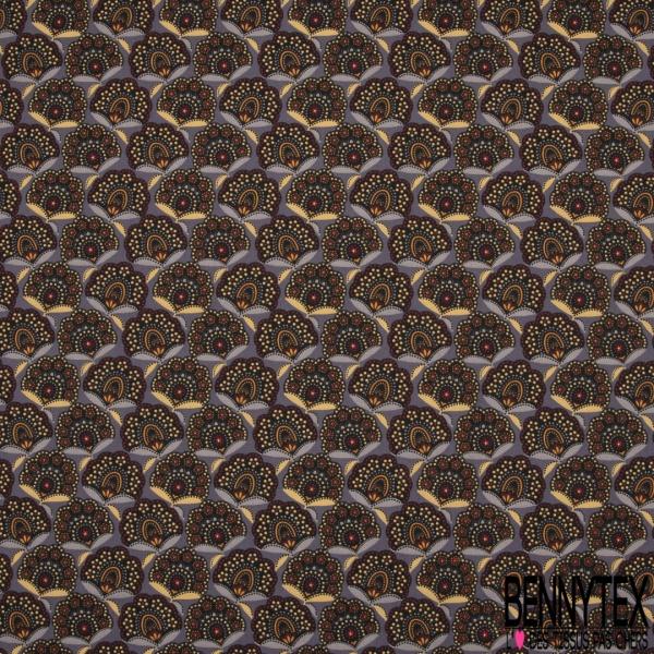 Cretonne 100 % Coton Imprimé motif fleur assam multicolore Fond gris violet