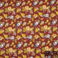 Cretonne 100 % Coton Imprimé motif animal dans la jungle multicolore brique foncé