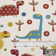 Cretonne 100 % Coton Imprimé motif dinosaure palmier et étoile bleu vert et bordeaux Fond blanc cassé