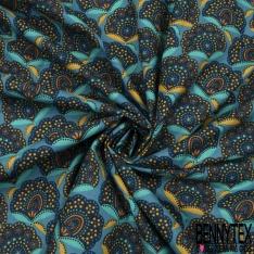 Cretonne 100 % Coton Imprimé motif fleur assam multicolore Fond bleu indigo