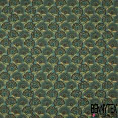 Cretonne 100 % Coton Imprimé motif fleur assam multicolore Fond vert aqua