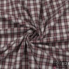 Coton Tissé Teint petit carreaux Couleur bordeaux noire et blanc cassé