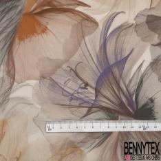 Crêpe Viscose Imprimé Motif grosse fleur taupe parme camel beige Fond blanc