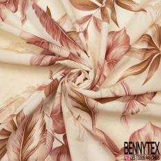 Crêpe Viscose Imprimé Motif feuille plume et palmier rose marron et camel Fond sable
