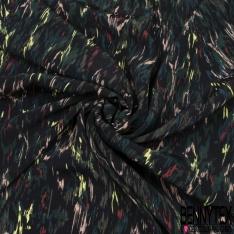 Crêpe Viscose Imprimé Fond noire avec des tons multicolores