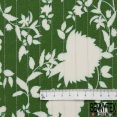 Crêpe Viscose Imprimé motif fleuri Fond vert brésil