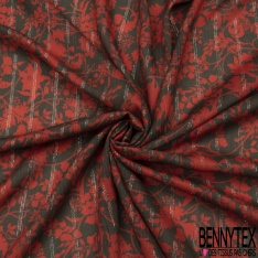 Fibrane Viscose Imprimé Motif fleur rouge Fond kaki