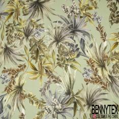 Fibrane Viscose effet lin Imprimé Motif papillon et grosse feuille nuance de vert et gris Fond vert lichen