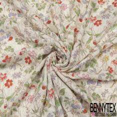 Fibrane Viscose Imprimé LUREX Or Motif fleur multicolore Fond blanc cassé