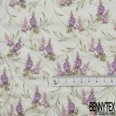 Coton Matelassé imprimé Recto Verso fleur japonaise violet et parme Fond beige