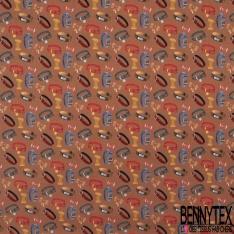 Coton imprimé digital motif collier et noeud papillon pour chat et chien multicolore Fond terracotta