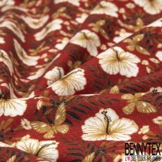 Coton imprimé digital motif fleur blanche et papillon vert marron multicolore Fond rouge orangé