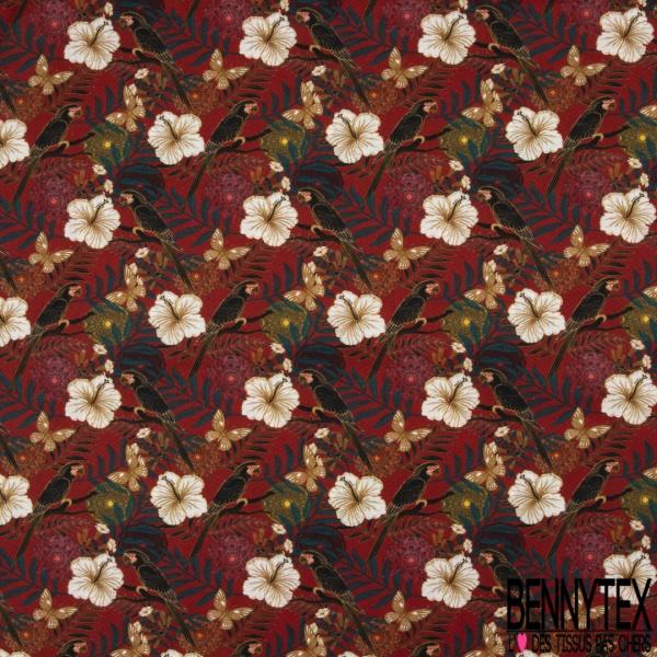 Coton imprimé digital motif fleur blanche et papillon vert marron et rosace multicolore Fond rouge orangé