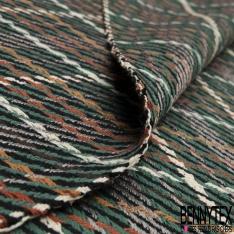 Coton Natté Imprimé carreau vert sapin rouille marron moutarde blanc noire et argent