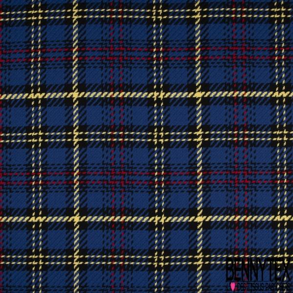 Coton Natté Imprimé carreau bleu roi rouge jaune et noire
