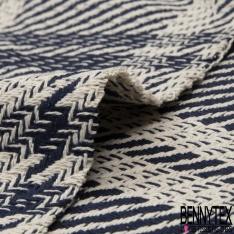Coton Natté Imprimé carreau bleu marine et blanc cassé