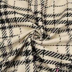 Coton Natté Imprimé carreau noire et beige