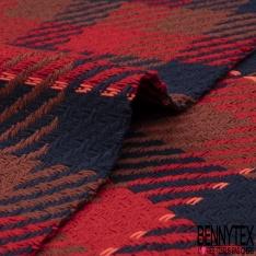Coton Natté Imprimé carreau rouge vif bleu marine et marron