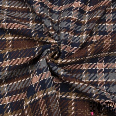 Coton Natté Imprimé carreau chocolat gris saumon bleu marine rose pale et jaune olive