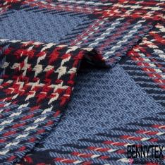 Coton Natté Imprimé carreau bleu pastelle bleu marine noire rouge et blanc cassé