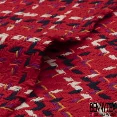 Coton Natté Imprimé carreau rouge blanc bleu marine parme jaune et rose fluo