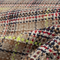 Coton Natté Imprimé carreau camel écru bleu marine rouge et jaune fluo Fond sable