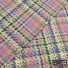 Coton Natté Imprimé carreau bleu clair vert lime bleu marine et jaune fluo Fond rose et écru
