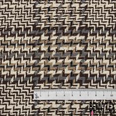 Coton Natté Imprimé carreau marron et gris souris Rayure beige foncé et noire Fond écru