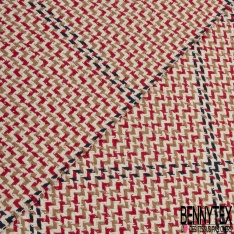 Coton Natté Imprimé carreau bleu nuit ZigZag camel et rouge Fond écru
