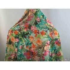 Fibranne Viscose Imprime Fleurs Exotique Multicolors