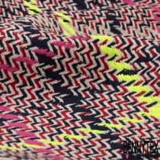 Coton Natté Imprimé carreau rose vif bleu nuit et rouge Fond écru