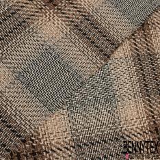 Coton Natté Imprimé carreau camel marron et noire Fond beige
