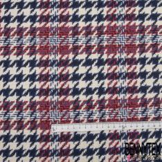 Coupon 3m Coton Natté Imprimé carreau rouge Pied de Poule Bleu marine et bleu roi Fond écru