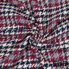 Coton Natté Imprimé carreau rouge Pied de Poule Bleu marine et bleu roi Fond écru