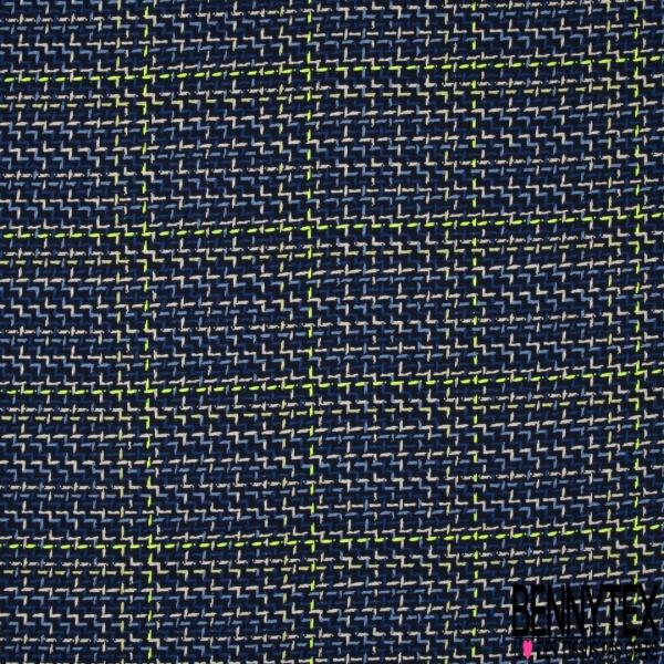 Coton Natté Imprimé carreau jaune fluo ZigZag bleu roi écru et bleu pastelle Fond bleu marine