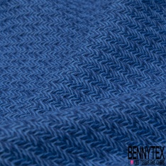 Coton Natté Imprimé ZigZag bleu roi et bleu pastelle