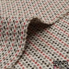 Coton Natté Imprimé ZigZag noire gris rouge écru et camel