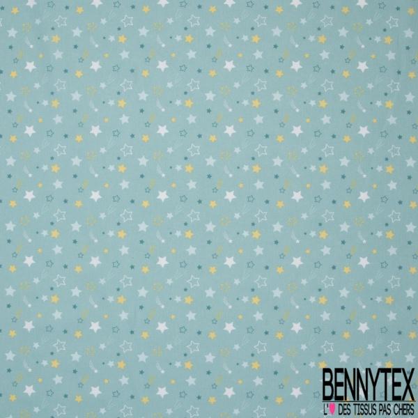 Coton imprimé motif étoile blanche bleue et jaune Fond bleu tiffany