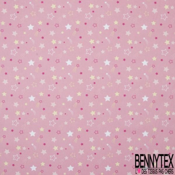 Coton imprimé motif étoile blanche rose et jaune Fond rose incarnadin clair