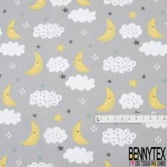 Coton imprimé motif lune jaune étoile multicolore et nuage Fond gris perle