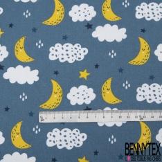 Coton imprimé motif lune jaune étoile multicolore et nuage Fond bleu indigo